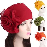 Women Ladies Retro Polyester Big Flowers Hat Turban Brim Hat Cap Pile Cap Hat