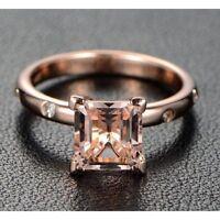 3.00Ct Princess Cut Morganite Desinger Engagement Ring 14K Rose Gold Finish