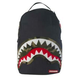Brand New SPRAYGROUND Chenille Green Camo Shark Deluxe Bag