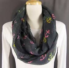 Grey Gray anchors boating nautical circle infinity endless loop long gauze scarf