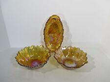 Carnival Glass Sunflower Bowl Relish Tray Vtg Indiana Iridescent Marigold Set 3