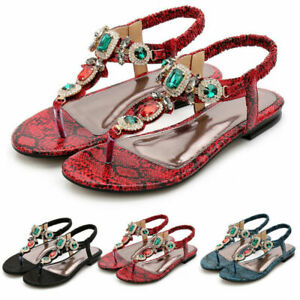Womens Toe Post Sandals Slip On Back Strap Diamante Shoes Summer Holiday Casual