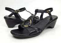 Easy Spirit shoes 9 M black leather ankle strap sandals Off the Island