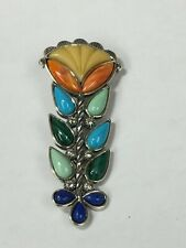 Carolyn Pollack Relios Sterling Silver and Multi-Gemstone Flower Pendant Brooch