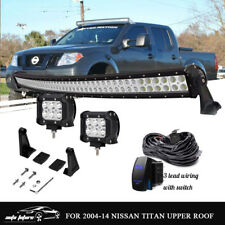 "288W 50"" Curved LED Light Bar+4"" 18W Pods For 2004-14 Nissan Titan Upper Roof US"