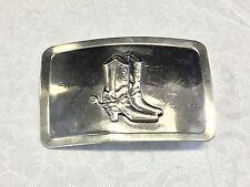 Cowboy boot with spurs  silver tone belt buckle.   denver CO