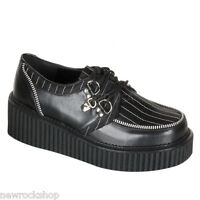 Demonia Creeper 113 Unisex Black Zip D-Ring Lace Up Goth Punk Rockabilly Shoes