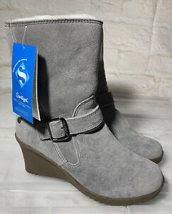 New OZ LAMB UGG Wedge Leather Sheepskin Boots Wedges Size US 7 #22312