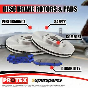 Protex Front Disc Brake Rotors + Blue Pads for Volkswagen Jetta III IV Scirocco