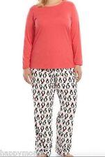NWT SONOMA Microfleece Pajama Xmas Gift Set Penguin Coral Sleepwear Plus Size 3X