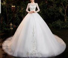 Vestido de novia Reino Unido 2017 Blanco/Marfil de manga larga con Cuentas Perlas Boda Talla 6-22