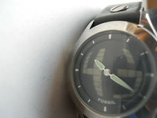 Fossil women's blk leather band.quartz,battery & Analog dress used watch.