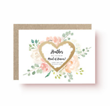 PERSONALISED WILL YOU BE MY BRIDESMAID MOH SCRATCH OFF PEACH FLOWER CARD