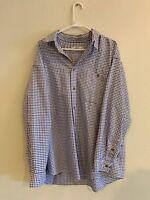 Orvis Mens Blue/Purple Plaid Long Sleeve Button Shirt Size XL EUC