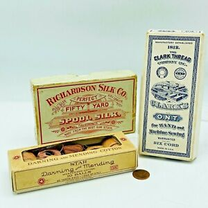 Antique Sewing Advertising Boxes Richardson Silk Co Star Darning Clark Thread