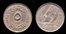 EGYPTE   5 MILLIEMES 1938    GRADE !!!