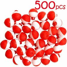 "500pcs 1"" Fishing float Snap-On Round Floats bobbers Push Button Red White NEW"
