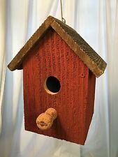 Bird House Rustic Weathered Barn Red Wood w/Champagne Cork Usa Handmade