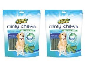 2x MUNCH CRUNCH MINTY CHEWS DOG TREATS FRESH BREATH ANTI TARTAR 2x250g