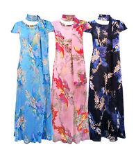 Women's Short Sleeve Scoop Neck Full Length Polyester Dresses
