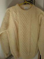 Irish Hand Knit NEW Wool Cardigan CABLE KNIT Sweater VINTAGE NEVER WORN SCOTLAND