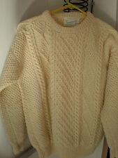 Irish Hand Knit NEW Wool Cardigan CABLE KNIT Sweater VINTAGE NEVER WORN SCOTLAND