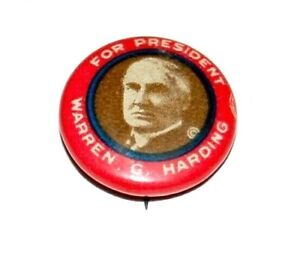 1920 WARREN HARDING campaign pin pinback political button presidential election
