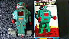 Mighty Robot w/ Sparks Vintage Made In Japan tin Mechanical wind-up toy with Box