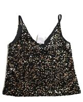 New NEXT Size 10 Womens Black Sequin Cami Vest Top Sexy Party
