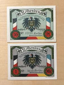 LUNDERUP: Rothenkrug, 50 Pfg. u. 1 Mark jeweils mit beschädigtem N in No_