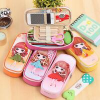 Popular Cute Cartoon Zipper Princess Pen Pencil Case Bag School Stationery Pouch