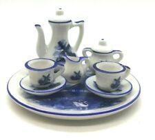 DELFT BLUE CHINA Windmill Scene MINIATURE DOLL TEA SET w/ TRAY Hand Painted