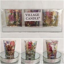 Beautiful Village Candle Gold Foil Votive Holders (Set of 3)
