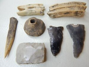 Prehistoric Bone, Flint Stone Artefacts and Spindle Whorl
