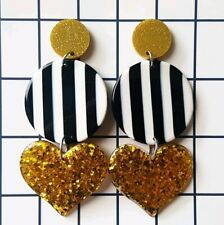 Bumblebee statement triple dangle stud earrings acrylic,  resin gold sparkly