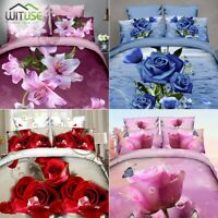DUVET COVERS 3D QUILT COVER PILLOW CASES BEDDING SETS FLORAL PRINTING TWIN/QUEEN