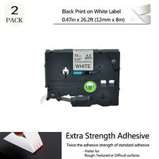 2X Extra Adhesive TZe TZ S231 Black on White Label For Brother P-Touch PT-2110