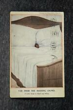 1917 Black Americana Black Baby Face In White Sheet/Pillow Bed Postcard