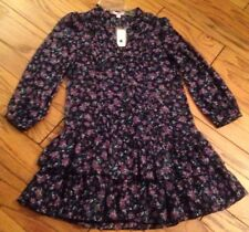 NWT Romeo Juliet Couture M Med Tunic Dress Top Long Sleeve Navy Blue Chiffon