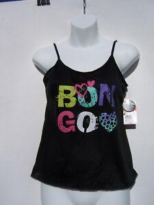 Bongo Girls Black Sleep Camisole With Logo & Heart Size Large 10/12 NWT
