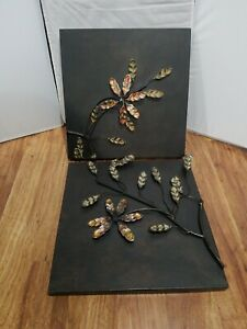 Two Metal Floral Square Hanging Wall Art