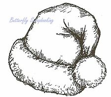 CHRISTMAS SANTA HAT Wood Mounted Rubber Stamp NORTHWOODS B10124 New