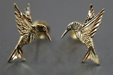 Solid 14K Yellow Gold Hummingbird Diamond Cut Stud Earrings!! (#1206408)