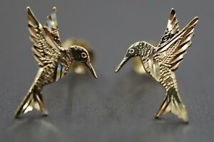 Solid 14K Yellow Gold Hummingbird Diamond Cut Stud Earrings!! (#1206408)