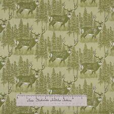 Riverwoods Fabric - Buck Deer Scene Green - Woods Water Wildlife Cotton YARD