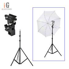 Flash Shoe Umbrella Holder Swivel Light Stand Bracket B +  220cm light stand