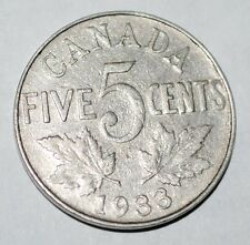Canada 1933 5 Cents George V Canadian Nickel Low Mintage