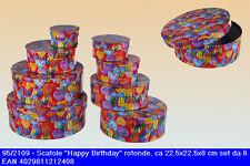Set 8 scatole regalo decorate 22,5x8 per compleanni con scritta Happy Birthday