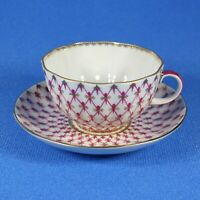 Tea Cup & Saucer, Lomonosov Porcelain, Tulip, Grid-Blues, IFZ, Russia