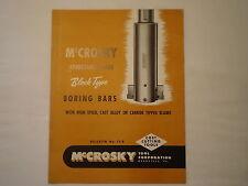 Vintage 1947 McCrosky Tool Meadville Pa Adjustable Blade Boring Bars Brochure